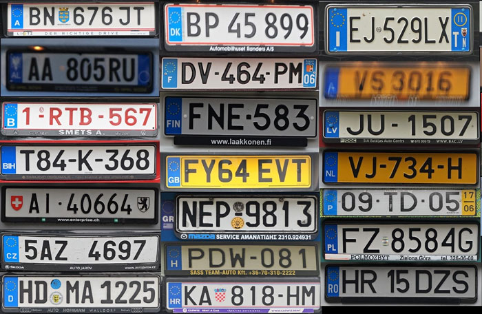Foreign Number Plates